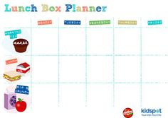 Lunch box planner printable