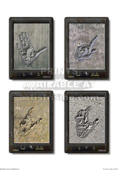 Tablets 07. CG print. Graphic of tablets and hands.
