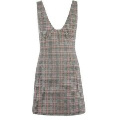 TopShop Check a-Line Pinafore Dress ($55) ❤ liked on Polyvore featuring dresses, a line silhouette dress, pinafore dress, checked dress, zip dress and silver dress