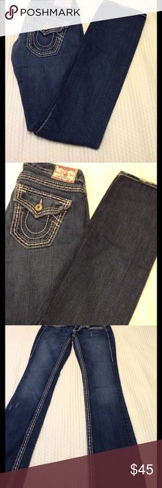 """Women's true religion jeans size 24"""" Size 24"""" waist, 34"""" inseam,  straight cut, rise 11"""" , good condition, thank you for looking, please check out my other items. True Religion Jeans Straight Leg"""