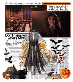 """HAPPY HALLOWEEN!! 🎃"" by sarahutcherson ❤ liked on Polyvore featuring Vanessa Bruno, Forever 21, Rodarte, Halloween, harrypotter, EmmaWatson and HermioneGranger"