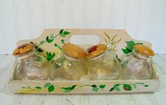 Vintage Wooden Hand Painted Rack & 4 Glass Bottles by DivineOrders, $23.00