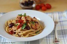 Spaghetti con  gamberi e olive