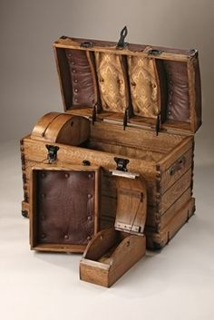 The British Colonial Steamer Trunk was an essential part of travelling to British India in the days of the Raj.  All travel was by Steamer ship hence the trunk got its name.  These colonials were going out to India for years so all their possessions would be in their trunk.