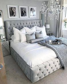 Home Decor Bedroom .Home Decor Bedroom Glam Bedroom, Stylish Bedroom, Room Ideas Bedroom, Home Decor Bedroom, Master Bedroom, Glam Bedding, Silver Bedroom Decor, Chanel Bedroom, Ikea Bedroom