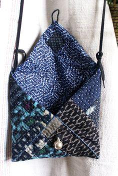 small bag pouch in vintage kasuri Japanese fabrics by lesamovar