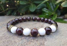 Protection & Sincerity Bracelet, Genuine Garnet and Mother of Pearl Gemstone Men's Bracelet, Healing Meditation Yoga Bracelet, Free Shipping by Braceletshomme on Etsy
