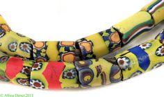 Millefiori Venetian Trade Beads Yellow Blue African | eBay