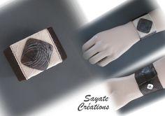 Bracelet textile et polymère  Adaptable à tous les poignets  Sayate Créations Fait Main