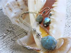 Labradolite pendant on Sterling silver Chain by NewelryJewelry, $35.00