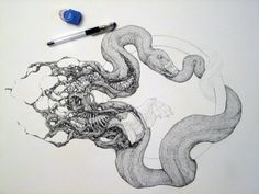 This series by artist Lauren Marx can be somewhat disturbing and grotesque. Her illustrations feature animals in a state of atrophy and. Snake Drawing, Snake Art, Japanese Animals, Japanese Art, Botanical Illustration, Illustration Art, Animal Illustrations, Decay Art, Image Tumblr