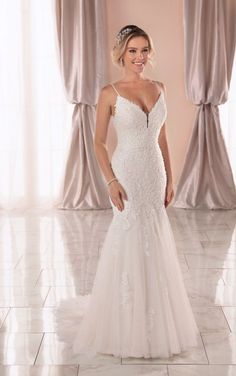 Wedding Dresses Lace Arms 6934 V-neck Boho Fit and Flare Wedding Dress by Stella York.Wedding Dresses Lace Arms 6934 V-neck Boho Fit and Flare Wedding Dress by Stella York Wedding Dresses Plus Size, Best Wedding Dresses, Designer Wedding Dresses, Wedding Gowns, V Neck Wedding Dress, Boho Wedding Dress, V Neck Fit And Flare Wedding Dress, Boho Dress, Mermaid Wedding