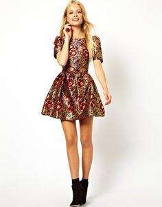 Image 4 ofASOS PETITE Exclusive Floral Jaquard Skater Dress