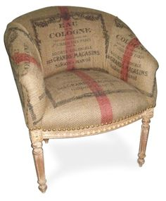 Burlap covered chair