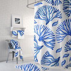 Blue Coral Shower Curtain Nautical Shower Curtain Nautical