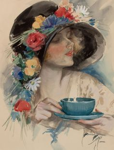 *Pin-up and Glamour Art, HARRISON FISHER (American, 1875-1934). Afternoon Tea, Cosmopolitan magazine cover, September 1925.*