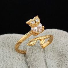 Adjustable Size 510GOLD plated cz ringKnuckle ringOwl by HappyRing