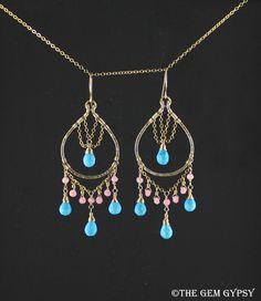 Bohemian Chandelier Earrings Pink Agate Blue by TheGemGypsy