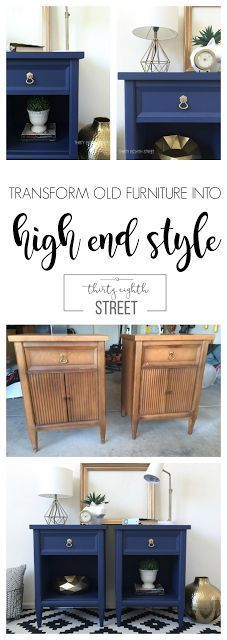 DIY Modern Painted Nightstands. Paint a pair of thrift store end tables and turn them into high end looking nightstands. Makeover by Thirty Eighth Street. #countrychicpaint #paintedfurniture #furnituremakeover