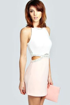 Nadine Embellished Cut Out Detail Bodycon Dress at boohoo.com