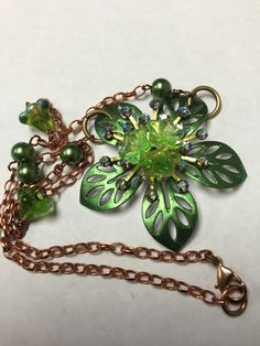 Assemblage Flower Necklace, Emerald Green Necklace with Vintage Swarovski, Green and Copper Flower Necklace, Gloria Allen Designs