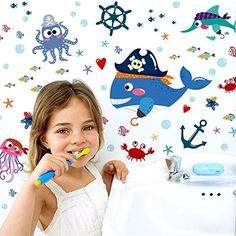 FangeplusTM Cartoon Shark Pirate Octopus Starfish Fish DIY Removable Art Mural Vinyl Waterproof Wall Stickers Kids Room Decor Nursery Decal Sticker Wallpaper 131x114 * You can find more details by visiting the image link.