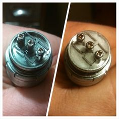 Quad super nano coil on my IGO-W4... I used 28 gauge Kanthal wire and small cotton clouds under each coil for a wick. 16 wraps and only .3 ohms with so much flavor and vape! Using a 30 Amp sony 18650 in my Magneto mechanical mod from Smok Tech, this is by far my favorite build yet! Vape on!!!