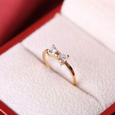 Wedding-Golded-Woman-039-s-Crystal-Plated-Bow-Finger-Ring-engagement-Zircon-Ring