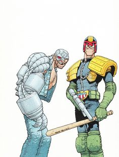 """Judge Dredd and Mean """"Machine"""" Angel from 2000ad by Frank Quitely"""