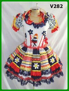 Caipiras Adulto :: Yang Festas e Fantasias Luanna, Kids Wear, Ideias Fashion, Short Sleeve Dresses, Ballet, Summer Dresses, Womens Fashion, Casual, How To Wear