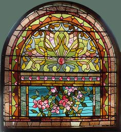 "Antique American Floral Arched Stained and Jeweled Glass Window 53"" x 52.5""  fid12026"
