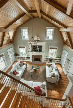 Possibly loft open to kitchen dining over bedroom half kitchen/dining & half master suite.Possibly loft open to kitchen dining over bedroom Barn Living, Home And Living, Living Area, Living Rooms, Future House, Barn House Plans, Pole Barn Homes Plans, Metal Homes, My New Room
