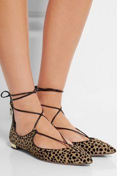 Aquazzura | Christy leopard-print calf hair point-toe flats | NET-A-PORTER.COM