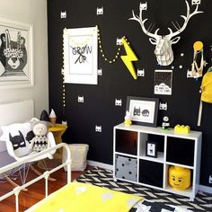 Amazing Kids Bedroom With Batman Decorations Ideas 8298 Cool Kids Bedrooms, Trendy Bedroom, Bedroom Boys, Boy Rooms, Bedroom Themes, Little Boys Rooms, Bedroom Modern, Bedroom Ideas, Batman Bedroom