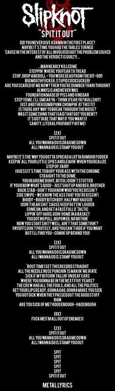 Slipknot - Spit it out FOLLOW Metal Lyrics for More LYRICS !!