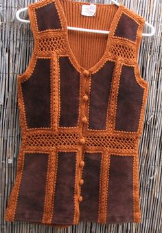70's Leather and Knit Patchwork Vest.