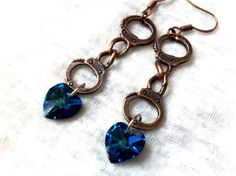 Wild West Sheriff Copper Handcuffs with Blue Crystal by Hankat, $18.00