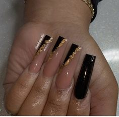 Bling Acrylic Nails, Acrylic Nails Coffin Short, Simple Acrylic Nails, Summer Acrylic Nails, Best Acrylic Nails, Black Gel Nails, Black Coffin Nails, Dope Nails, Swag Nails