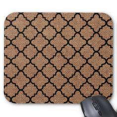 Black Quatrefoil on Rustic Burlap – Shabby Chic Mouse Pad  A pattern of black quatrefoil against rustic burlap. Sweet country style!