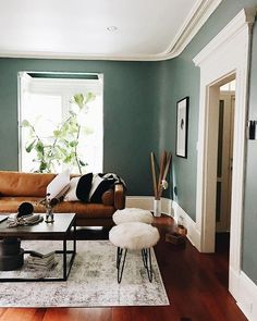 Sven Charme Tan Sofa – Wandfarbe – - Home Accents living room Brown Living Room, Sofa Design, Living Room Scandinavian, Green Walls Living Room, Living Room Green, Living Room Designs, Brown Living Room Decor, Living Room Paint, Living Decor