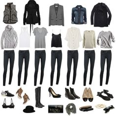 Great capsule wardrobe for winter. Capsule Wardrobe, Wardrobe Basics, New Wardrobe, Black Wardrobe, Professional Wardrobe, Wardrobe Ideas, Mode Outfits, Casual Outfits, Fashion Outfits