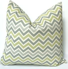 Pillow Decorative Pillows Chevron Pillow Covers Missoni Style 20 x 20 Inches - Gray and Green on Natural Zig Zag Chevron. $34.00, via Etsy.