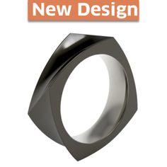Quaddra Black Titanium Ring - a literal spin on a classic squared mens design.