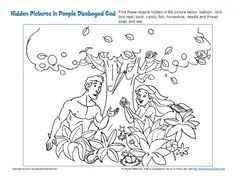 Adam and Eve chose to disobey God. This hidden pictures activity shows them making that choice. You'll want to remind your children that even though they've also done wrong, God still loves them, even though He's very sad they've sinned against Him. Creation Coloring Pages, Free Bible Coloring Pages, Family Coloring Pages, Sunday School Coloring Pages, Preschool Coloring Pages, Preschool Bible Lessons, Bible Activities For Kids, Bible Crafts For Kids, Sunday School Activities