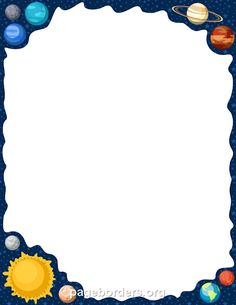 Printable solar system border. Use the border in Microsoft Word or other programs for creating flyers, invitations, and other printables. Free GIF, JPG, PDF, and PNG downloads at http://pageborders.org/download/solar-system-border/