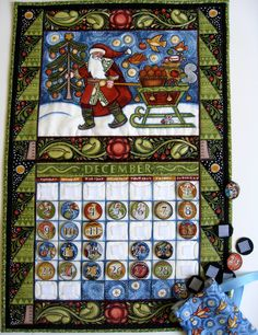 Advent Calendar, Perpetual Calendar, Quilted Wall Hanging. $59.00, via Etsy.