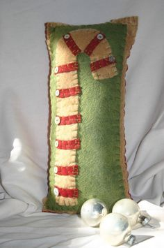 Vintage Christmas Candy Cane Pillow.