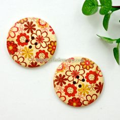 Wooden Buttons - Spring Flowers, Big (2 in a set) via Etsy