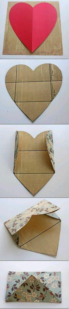 idee de patron enveloppe en forme de coeur, comment plier du papier pour fabriquer une enveloppe originale