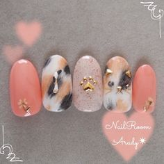 Blush Nails, Soft Nails, Glam Nails, Cute Nails, Cat Nail Art, Animal Nail Art, Nail Art Diy, Cat Nail Designs, Cute Acrylic Nail Designs